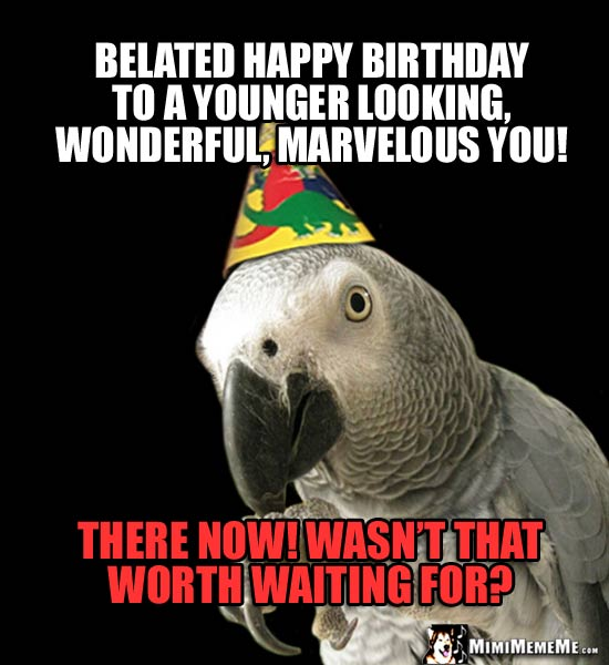 Parrot in Party Hat Says: Belated happy birthday to a younger looking, wonderful, marvelous you! There now! Wasn't that worth waiting for?