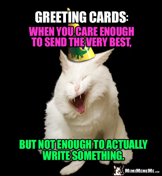 Joke about greeting cards.