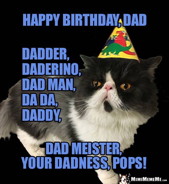 Party Cat: Happy Birthday, Dad, daderino, dad man dad meister...