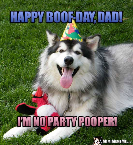 Smiling Dog in Party Hat Says: Happy Boof-Day, Dad! I'm no party pooper!