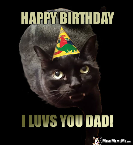 Black Cat Wearing Party Hat Says Happy Birthday I Luvs You Dad