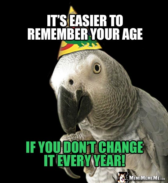 Offensive Party Parrot Says Its Easier To Remember Your Age If You Dont Quickmeme Short Birthday Jokes Happy Birthday Oneliner Humor Funny Bday