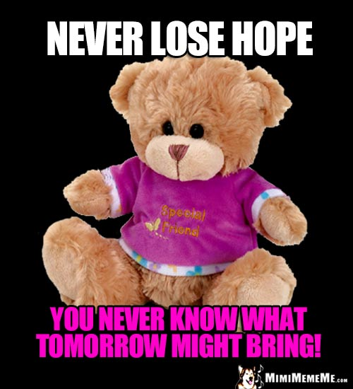 Special Friend Bear Says: Never lose hope. You never know what tomorrow might bring!