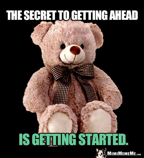 Wise Teddy Bear Says: The secret to getting ahead is getting started.