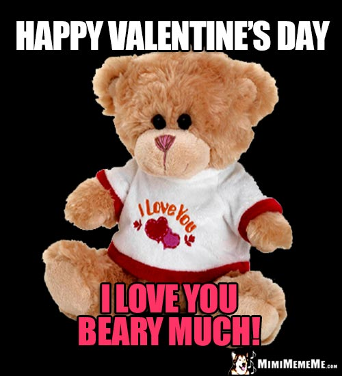 Teddy Bear Says: Happy Valentine's Day. I love you beary much!