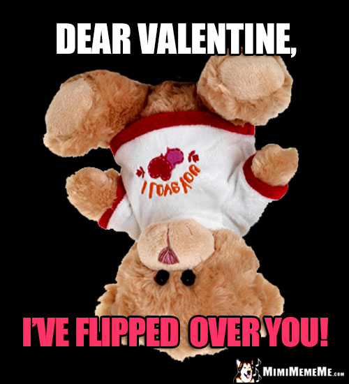 Upsidedown Teddy Bear Says: Dear Valentine, Iu0027ve Flipped Over You!