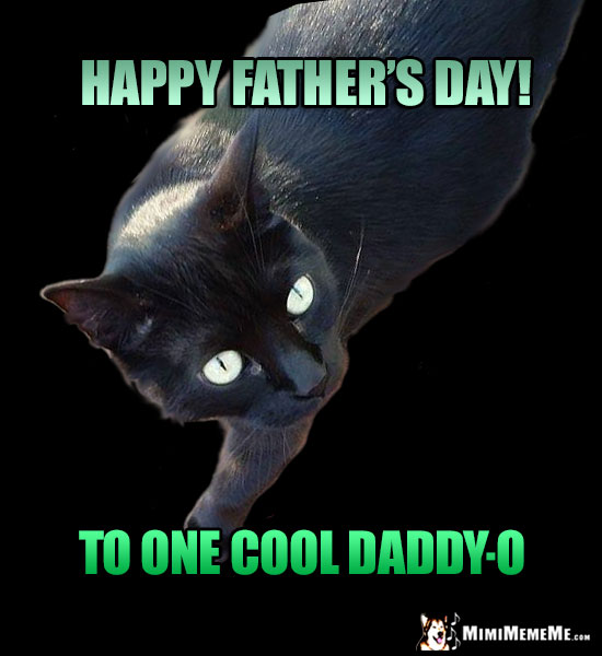 Happy fathers day dad funny party animals wish daddy pops dada black cat says happy fathers day to one cool daddy o sciox Gallery