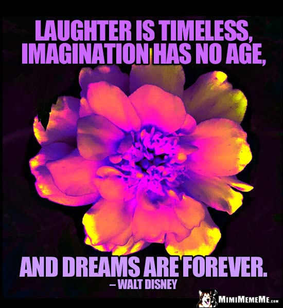 Walt Disney Quote: Laughter is timeless, imagination has no age, and dreams are forever.
